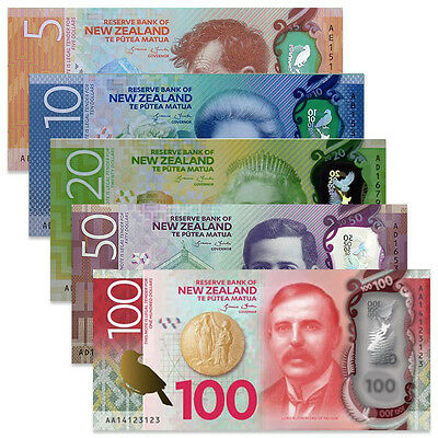 New Zealand set 5 PCS, 5 10 20 50 100 Dollars, 2015-2016, P-New, Polymer, UNC