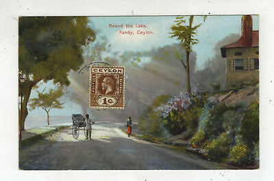 1928 Colombo Ceylon Picture postcard Cover Road by Lake Kandy