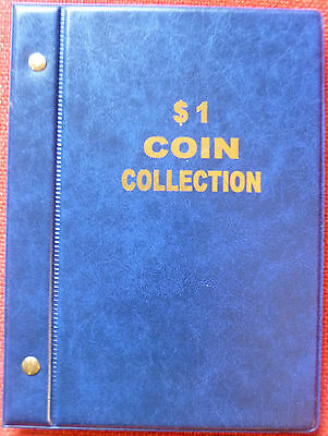 VST AUSTRALIAN $1 COIN ALBUM 1984 to 2018 MINTAGES PRINTED -  BLUE COLOUR