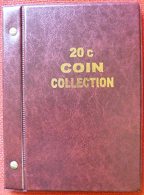 VST AUSTRALIAN 20c COIN ALBUM 1966 to 2018 MINTAGES PRINTED -  RED COLOUR