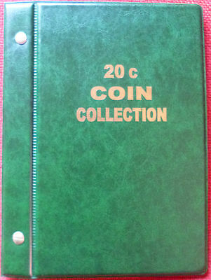 VST AUSTRALIAN 20c COIN ALBUM 1966 to 2018 MINTAGES PRINTED -  GREEN COLOUR