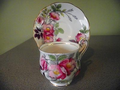 Royal Albert Dog Rose Flower of the Month Series Teacup and Saucer
