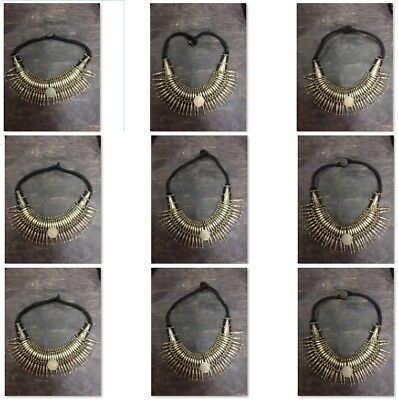 Wholesale  Antique Vintage Old Tharu Tribal Alloy Silver Necklace 10 pcs  Nepal