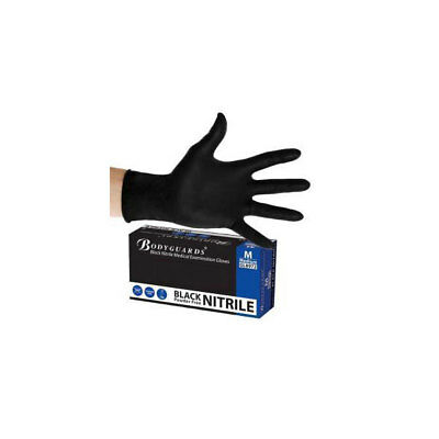 Nitrile Work Gloves 100 Pieces XL Black Powder Free Rolled Cuff Bodyguard GL8975