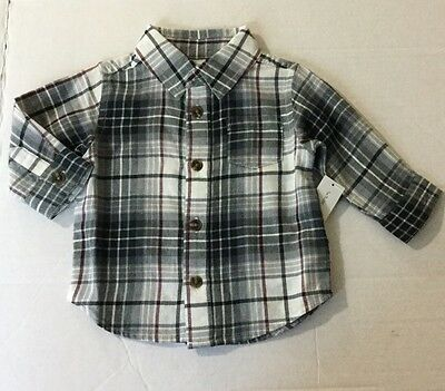 New Boys Old Navy Long Sleeve Plaid Button Up Shirt Size 3-6 Months