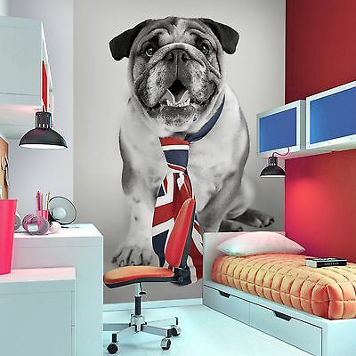 BRITISH BULLDOG WALLPAPER WALL MURAL 2.32m x 1.58m UNION JACK