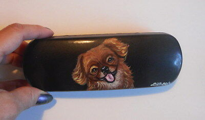 Tibetan Spaniel  Dog Hand Painted Eyeglass case faux Leather