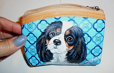 Cavalier King Charles Spaniel Dog Hand Painted Leather Coin Purse Vegan
