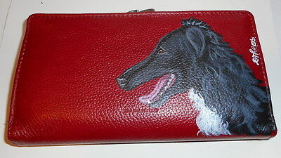 Black Borzoi Russian Wolfhound Dog Hand Painted Ladies Leather Wallet