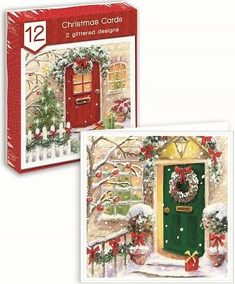Pack Of 12 Square Christmas Cards - Winter Scenic Front Doors, Trees & Presents