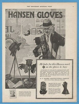 1918 O.C. Hansen Manufacturing Co Milwaukee Wisconsin Men's Driving Gloves Ad