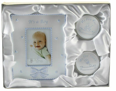 My First Tooth Curl Frame Gift Set ~ Baby Boy Blue Christening Gift Present