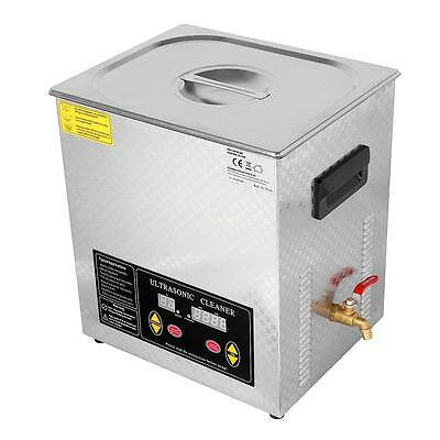 Stainless Steel  Ultrasonic Cleaner Industry Heater Heated Cleaning w/ Timer 15L