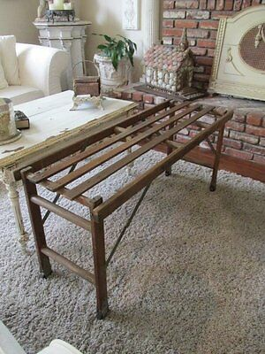 THE BEST Old Vintage WOOD Folding Open Slat STAND Repurposed COFFEE TABLE Wheels