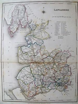 1845 ANTIQUE MAP: LANCASHIRE COUNTY UK, England. Outline-Handcolored.