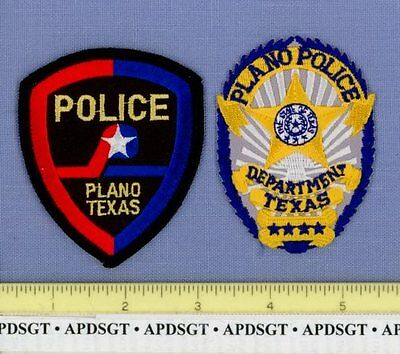 """PLANO POLICE PATCH COLLECTION ~ Lot of 2 Patches TEXAS TX  3.25"""""""