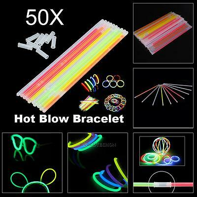 50PCS Premium Glow Sticks Bracelets Neon Light Glowing Party Favors Rally Raves