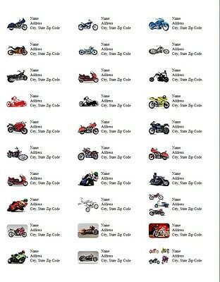 30 Personalized Address Labels Motorcycles All Pictures Buy 3 get 1 free (d3)