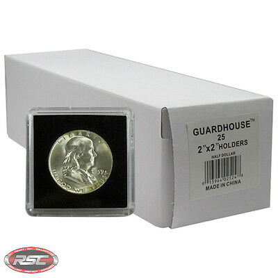 25 - GUARDHOUSE 2x2 TETRA PLASTIC SNAPLOCK COIN HOLDER for HALF DOLLAR