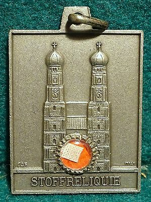Vtg LGE RELIQUARY MEDAL/PENDANT w/ RELIC BLESSED RUPERT MAYER - CLOTH 35mm