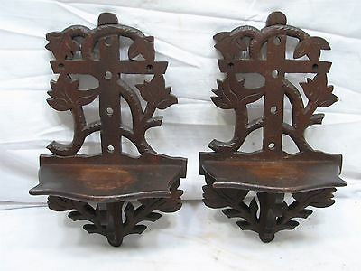Pr Antique Hand Carved Wooden Wall Trinket Shelves Shelf Walnut Wood Ornate Leaf