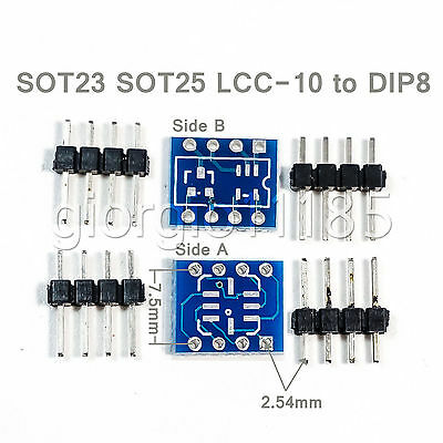 US Stock 6pcs SOT23 SOT25 LCC-8 LCC8 To DIP8 Adapter PCB Convertor