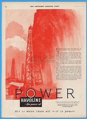 1926 Indian Refining Co Lawrenceville IL Havoline Motor Oil Well Blowout Art Ad