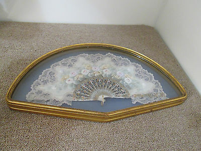 57309 Hand Painted Framed Fan With Lace In Shadow Box