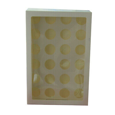 50 x Cupcake Box Clear Window 24 Hole Muffin Wedding Favour Party Bomboniere