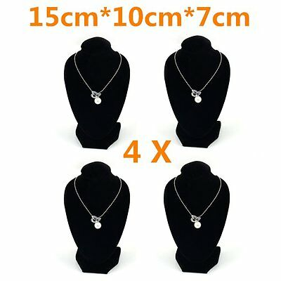 4x Multiple Velvet Necklace Earring Stand Jewellery Holder Shop Display Bust HT