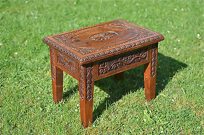 Superb antique hand carved wooden stool by Charles Strapps the Wisbech carver