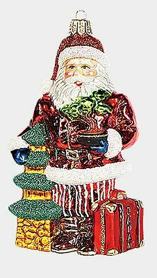 Japanese Travel Santa Polish Mouth Blown Glass Christmas Ornament Decoration