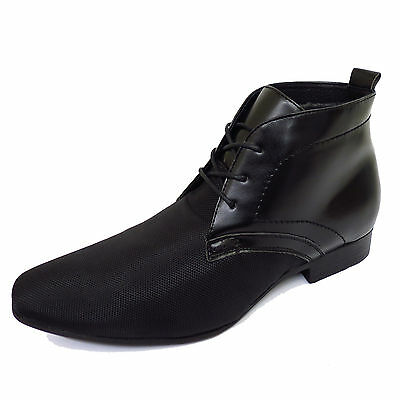 Mens Black Lace-Up Leather Smart Casual Chelsea Dealer Ankle Boots Shoes Uk 6-12