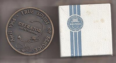 "New England Telephone & Telegraph Co. 1968 Operator's Balfour Award 3"" Medal"