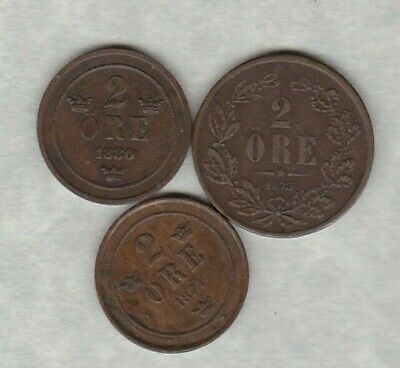 1880 Sweden Two Ore In Very Fine Condition