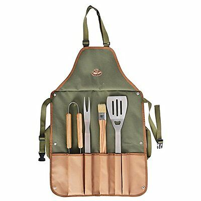 Escheat Design BBQ Apron with Barbecue Cutlery Green 45.5 x 2.5 x 87.5