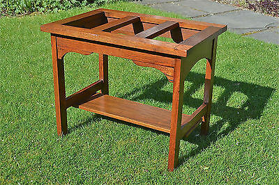 Original Arts and Crafts solid oak luggage rack suitcase stand C.1900-1910