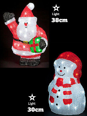 LED Acrylic Figures Christmas Decorations Light Up Santa Snowman Indoor Outdoor