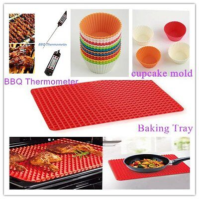 GOOD! Pyramid Pan Non Stick Fat Reducing Silicone Cooking Mat Baking Tray HT