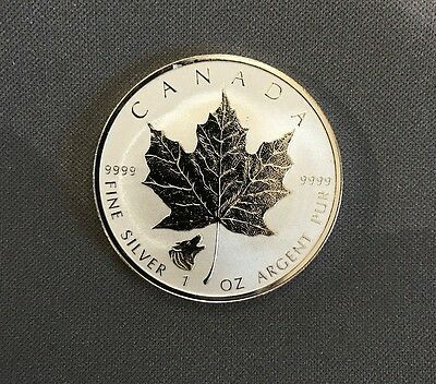2016 $5 SILVER Maple Leaf WOLF PRIVY mark - Reverse Proof