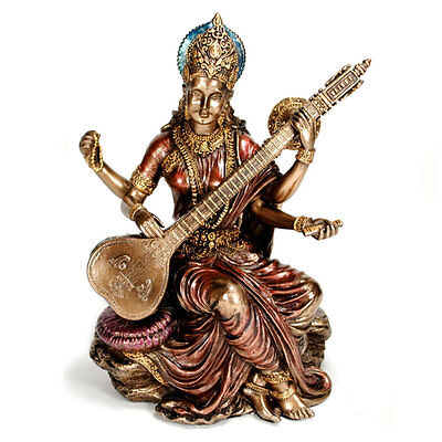 "SARASWATI STATUE 5.75"" Hindu Goddess Deity HIGH QUALITY Bronze Resin India NEW"