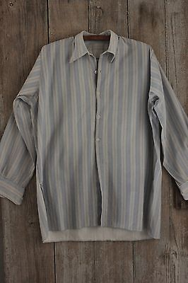 Work wear French shirt men's blue stripe cotton chore wear ~ c 1940's