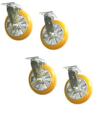 """(Four)Clearance Swivel Caster with 8"""" Wheel with Brake & 4"""" x 4-1/2"""" Plate"""