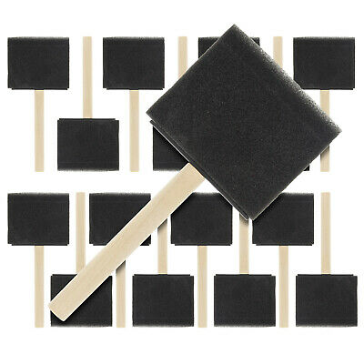 """15 Pack - 3""""  Foam Sponge Paint Brush Set Wood Handle Craft Touch Up Stain"""