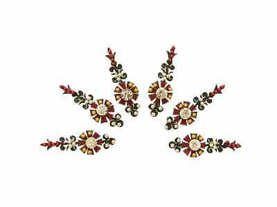 Classic Traditional Indian Bindi Crystal Body Stickers Red Black
