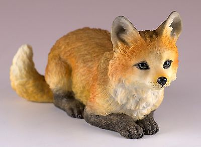 "Red Fox Figurine 5.25""L Highly Detailed Polystone New In Box"