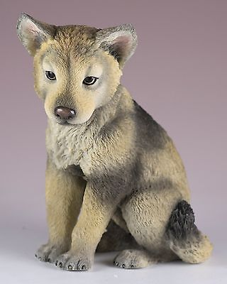 "Wolf Cub Pup Figurine 4.25"" High - Highly Detailed Polystone New In Box"
