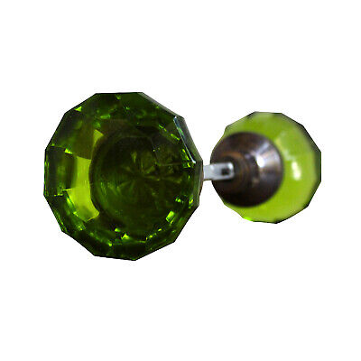 Door Knob GREEN Glass AGED Brass (pair) vintage style New Hardware