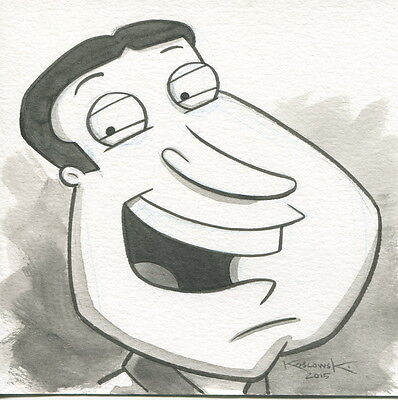 Family Guy Quagmire OOAK Original Hand Inked Illustration Drawing Signed COA pj2