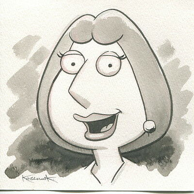 Family Guy Lois OOAK Original Hand Inked Illustration Drawing Signed COA pj
